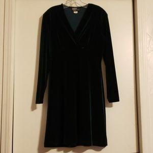 Dresses & Skirts - Velvet V neck Green Holiday LS Dress 4